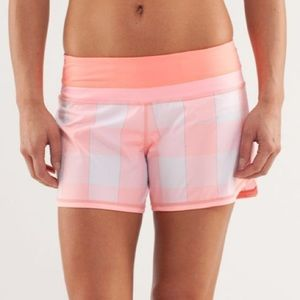 Lululemon Coral Orange Gingham Groovy Run Shorts